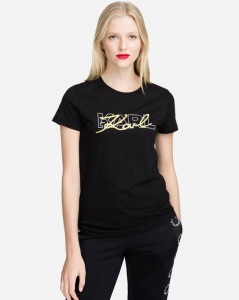 KARL  LAGERFELD - KOSZULKA DOUBLE LOGO YELLOW