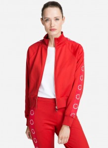 KARL LAGERFELD - BLUZA TAPE ZIP-UP RED